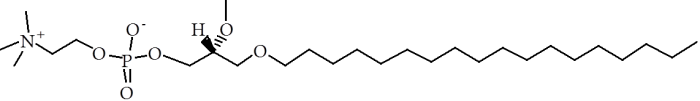 Figure. The molecular structure of edelfosine.  Note the head group similarity to phosphatidylcholine and the hydrolyisis-resisting ether-linked fatty alkyl chain.